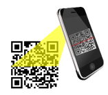 Mobile device reading QR code